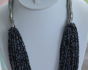Gray Glass Seed Bead Multi-Strand Necklace, Silver tone, Vintage, Tribal (TB387)