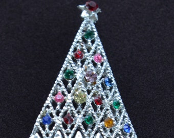 Multi-colored Rhinestone Christmas Tree Brooch, Pin, Silver tone, Vintage (AG12)