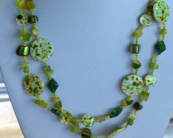 "Peridot Green, Yellow Glass Beaded Double Strand Necklace, Vintage, 17-1/2""-21-1/2"""