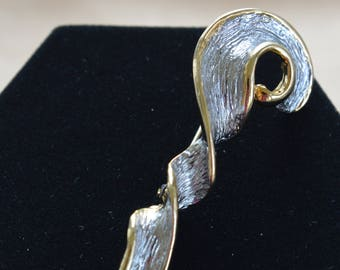 Silver, Gold Contemporary Twisted Swirl Brooch, Vintage (W6)