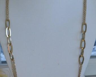 "Pretty Vintage Gold tone Link, Chain Necklace, Adjustable, 30""-32-1/4"" (AP7)"