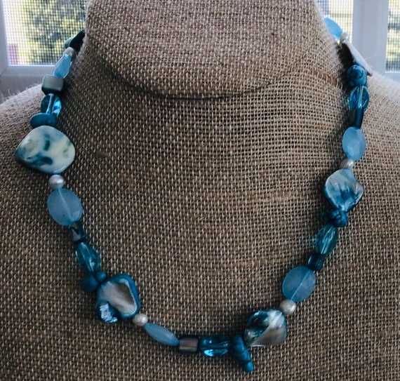 Turquoise and Freshwater Pearl Blue Beaded Necklace