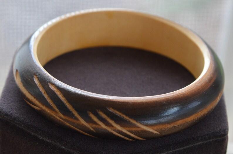 Brown Carved Wooden Bangle Bracelet Tribal Vintage