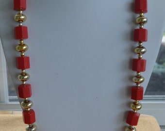 Pretty Vintage Red Plastic Beaded, Gold tone Necklace, 30""