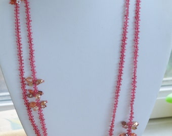 """Pretty Vintage Pink Glass Seed Bead Woven Long Necklace, 51"""" (V10)"""