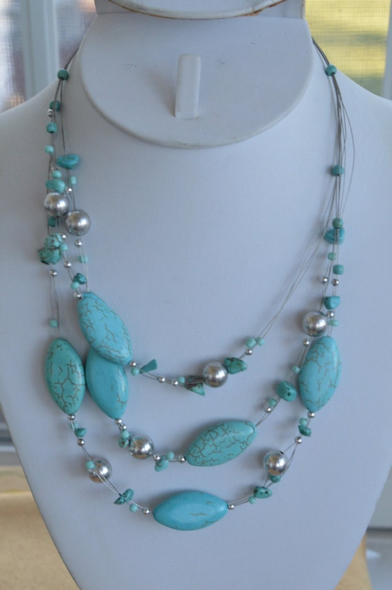 Multi layer choker necklace tassel necklace Silver toned turquoise colored stone
