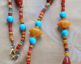 "Beautiful Colorful Plastic Beaded Necklace, 38"", ""Poggi Paris"", Turquoise, Apricot, Red"