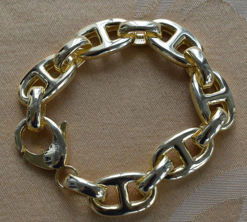 324520f40a675 Gucci-style Gold tone Chain Link Bracelet, Vintage,