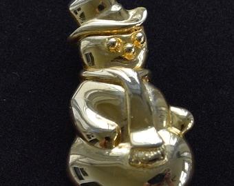 "Snowman Pin, Gold tone, Vintage, Winter, ""AAi""  (TB54)"