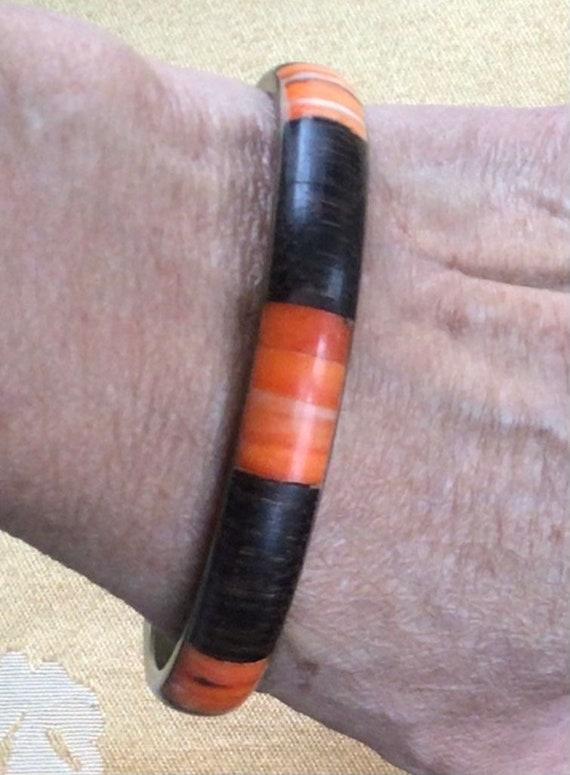 Brown, Orange Wooden, Stone Bangle Bracelet, Brass