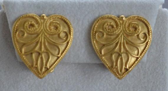 MMA Brass tone Woven Square Clip Earrings Vintage 1993 AJ7 Large