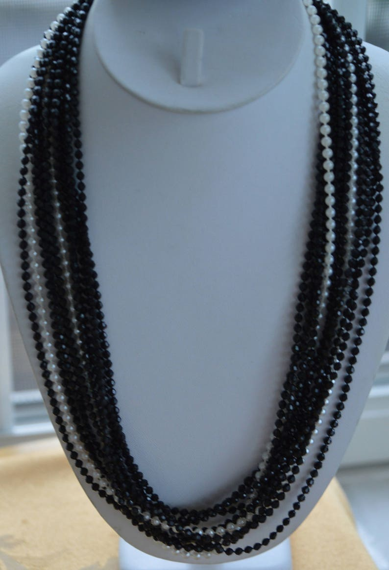 Faux Pearl Beaded Multi-Strand Necklace 50 M14 Black Faceted Vintage