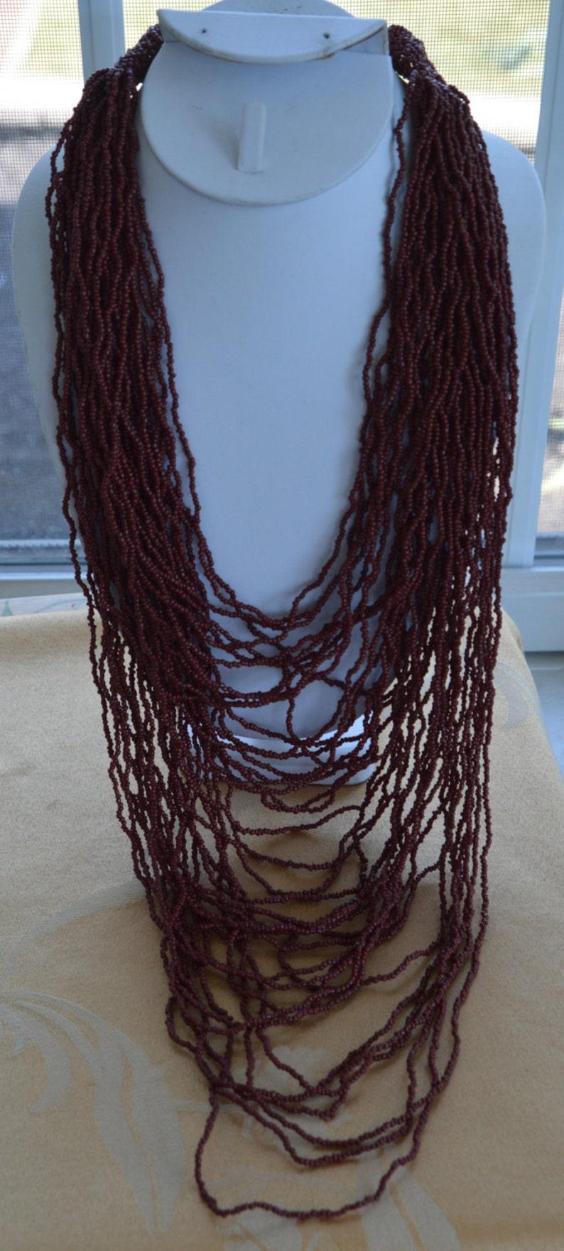 Pretty Vintage Reddish Brown Glass Seed Bead Multi-Strand Tribal Necklace 20-40