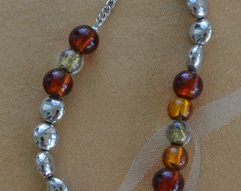 "Amber Glass, Silver tone Beaded Long Necklace, 34""-37"" (M5)"