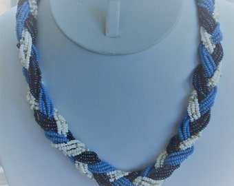 """Blue, White Glass Seed Bead Woven Necklace, Vintage, 18"""" (E6)"""