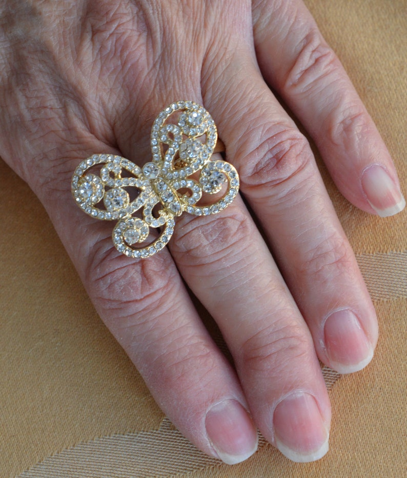 Vintage Gold tone Rhinestone Butterfly Ring Large TB406 Size 9