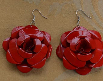 Cherry Red Enamel Floral Dangle Pierced Earrings, Large, Vintage, Retro (P3)