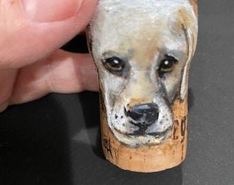 German Shepherd hand painted original art on champagne cork ornament