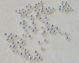 200 Tiny 2.5mm Round Silver Plated Spacer Beads Findings (532)