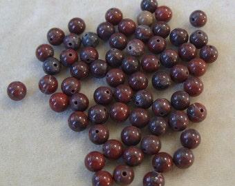 Full Strand of Brecciated Jasper Poppy Jasper 6mm Gemstones (288)
