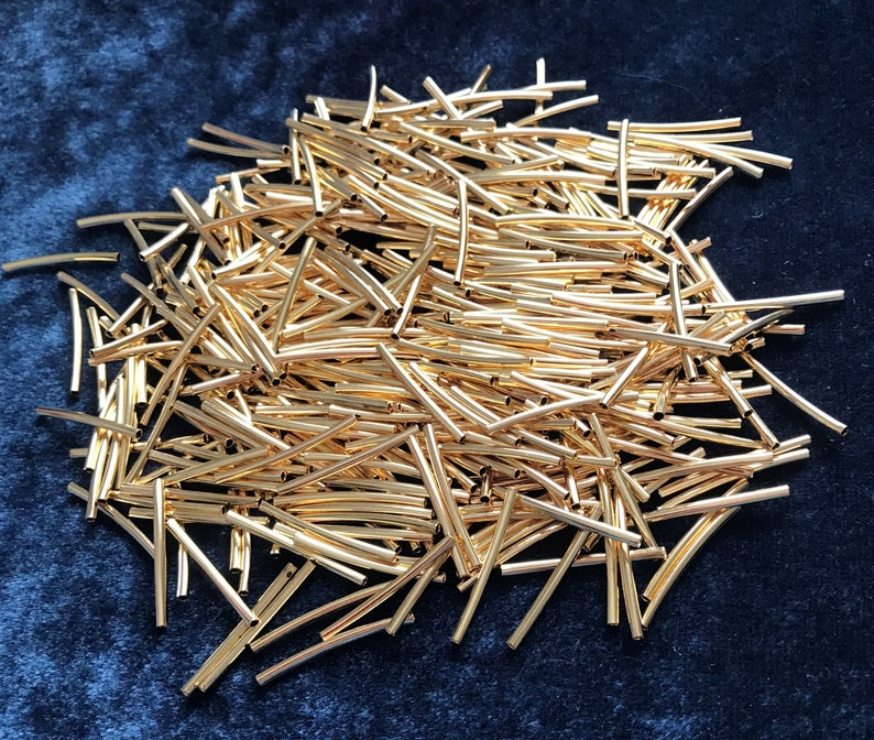 Inventory CLoseout Sale 400 21mm by 1.5mm Gold Plated Tube Spacers between Crystals Findings 516