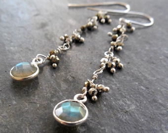 4bbd80fc5b0 Sterling Bezel Set Labradorite and Pyrite Encrusted Sterling Silver Chain  Drop Earrings, Victorian Style, Delicate Jewelry