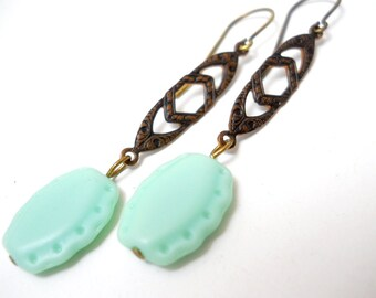 Mint Chocolate Earrings, Czech Glass Embossed beads, Chocolate Brown Brass, Victorian Style Earrings, Pastel Fashion
