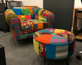 Afrotechnicolour Waxblock print patchwork 20th Century Modern Chair and Ottoman stool By Ray Clarke
