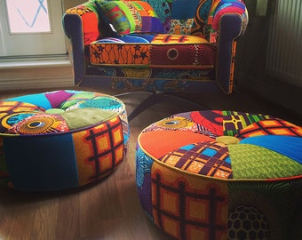 Afrotechnicolour Waxblockprint Mid 20th century Modern chair Upholstered by Ray Clarke