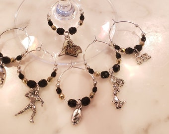 Purdue University  Boilermakers  Wine Charms W Pouch