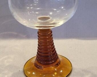 5 Vintage Roemer Glasses Set of five Brown Stemmed Etched Roemer Glassware Vintage Bar Ware