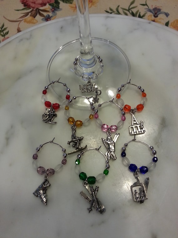Skiing  Lover Wine Charms