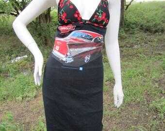 Chevrolet and cherries t shirt bikini dress