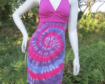 Pink and purple swirl tie dye tshirt bikini dress