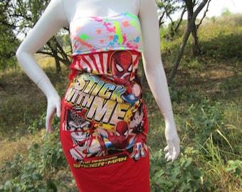 Awesome Spiderman t shirt bikini dress *glow in the dark*