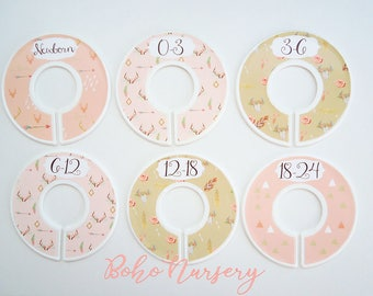 Boho Tribal Nursery Closet Dividers, Mint and PInk Nursery, Baby Clothes Dividers,  Clothes Organizer, Bohemian Nursery, Daily divider