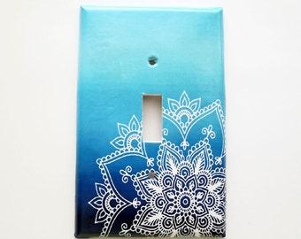 Stocking Stuffer Bohemian Switchplate Cover - Mandala switchplate  - Navy Ombre - Bohemian Bedroom Decor