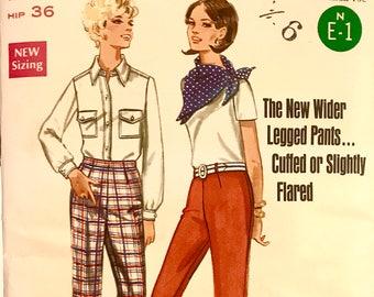 "Vintage 60's UNCUT wide legged pants BOHO sewing pattern BUTTERICK 5045 waist 25.5"" hip 36"""