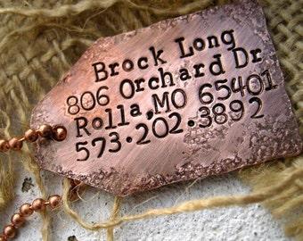 Rustic Copper Luggage Tag