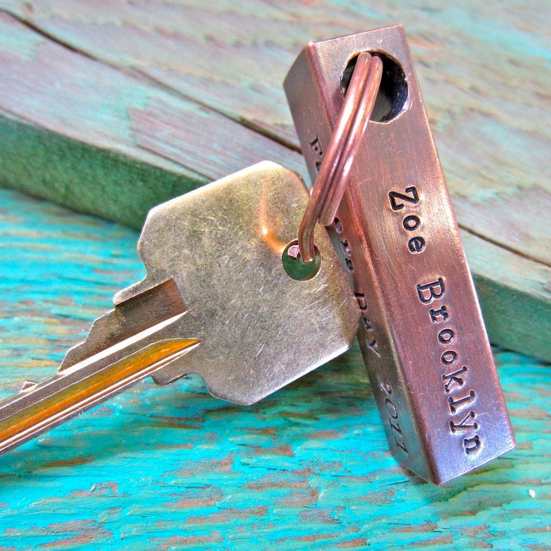Our jewelry makes for a unique and personalized gift Each piece handcrafted in Bozeman,MT with an antique hammer Copper Bar Keychain