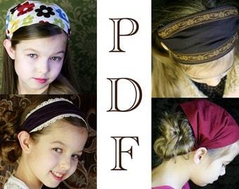 CHILDRENS Fabric Headband Pattern for Children Wide Headband Wide Hair Band Tutorial Head wrap Hair scarf Childrens Bandana Girls