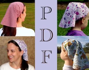 ADULT + CHILDRENS Women Headcovering Tutorial Sewing Pattern Headcovering Tutorial Bandana Pattern PDF E Book 4 Sizes Prayer Veil Covering