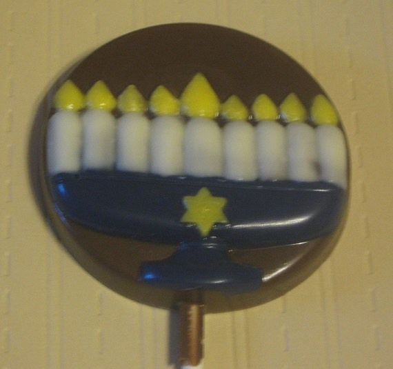 One dozen Menorah lollipop suckers Hanukkah Chanukah party favors gifts holiday favors