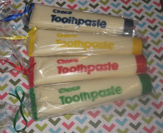 Solid chocolate toothpaste tube and chocolate toothbrush combo set party favor