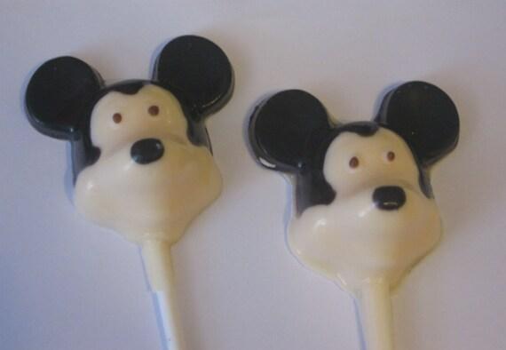 One dozen black and white mouse lollipop suckers party favors