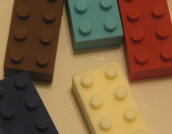 Solid Chocolate building block candy pieces