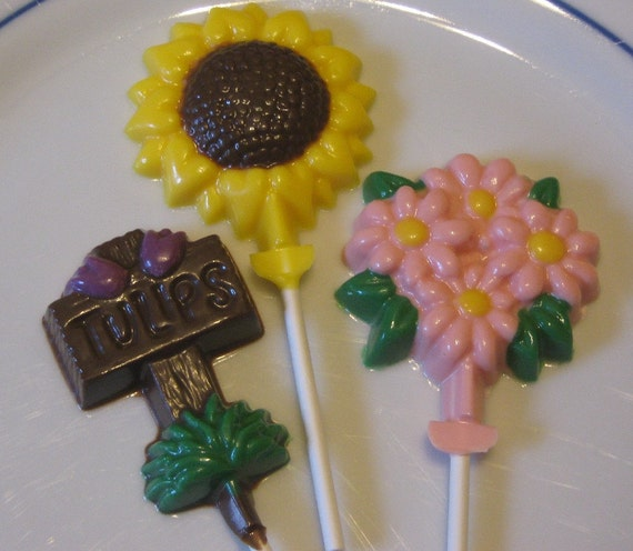 Spring flower mix daisy, tulip, sunflower suckers lollipops party favors