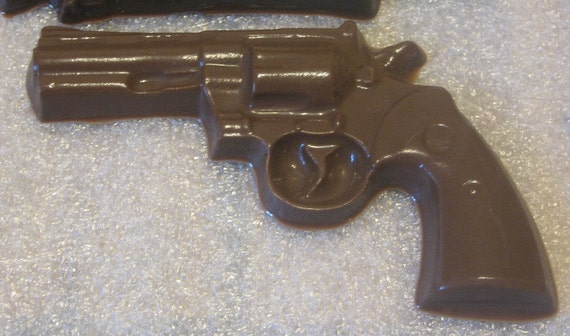 Small chocolate revolver gun party favor