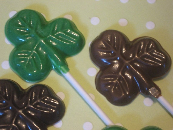 One dozen small shamrock clover lollipop sucker party favors
