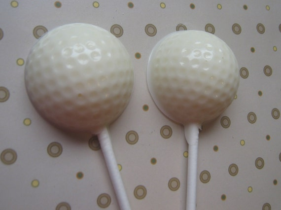 One dozen golf ball sucker lollipops party favors